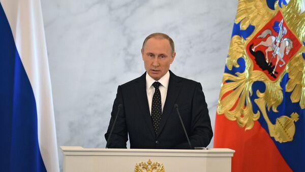 Vladimir Putin nel corso dell'Intervento di fronte all'Assemblea Federale - Sputnik Italia
