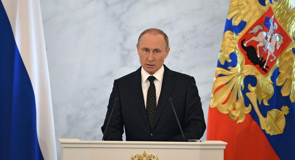 Vladimir Putin nel corso dell'Intervento di fronte all'Assemblea Federale