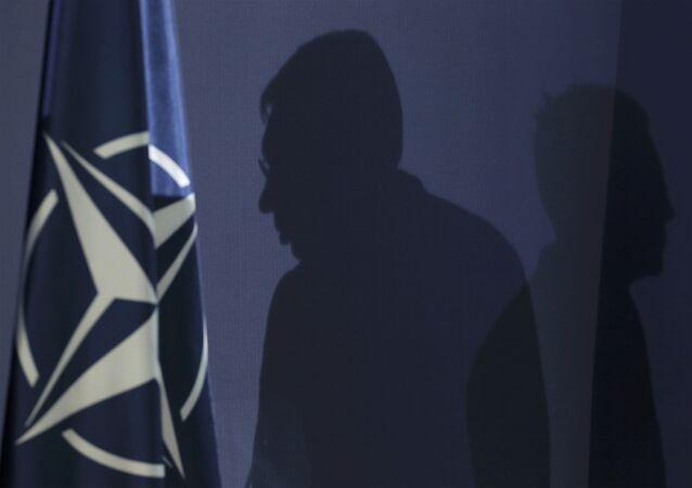 I siluetti di Secretario Generale di NATO Jens Stoltenberg e il primo ministro serbo Aleksandar Vucic alla conferenza stampa a Belgrado, Novembre del 2015