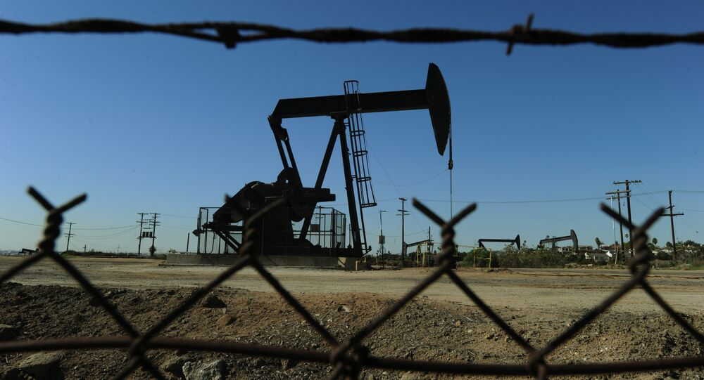 Oil pumps in operation at an oilfield near central Los Angeles