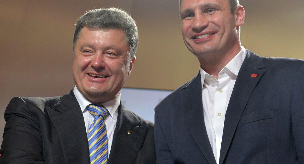 Presidente Petr Poroshenko e sindaco di Kiev Vitali Klitschko