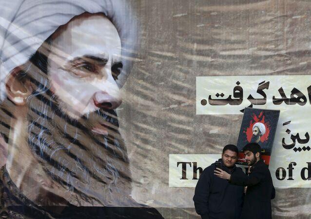 Poster del predicatore sciita Nimr al-Nimr giustiziato in Arabia Saudita