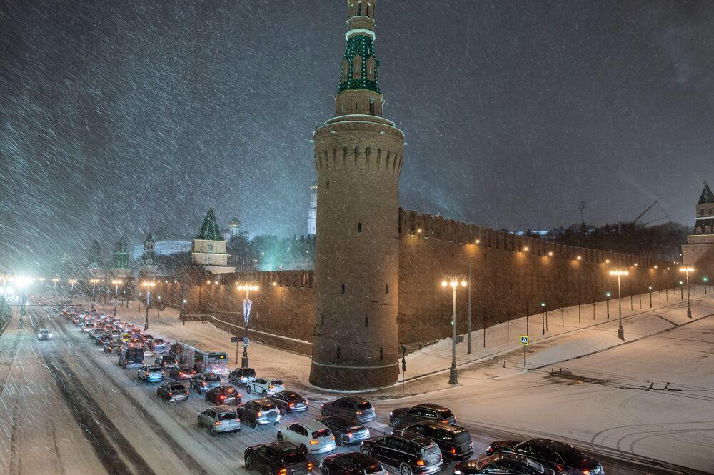 La nevicata al Cremlino di Mosca.