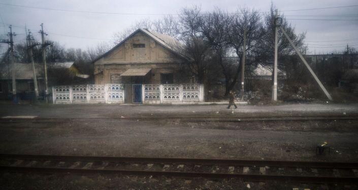 Veduta dal finestrino del treno locale Yasinovataya-Lugansk