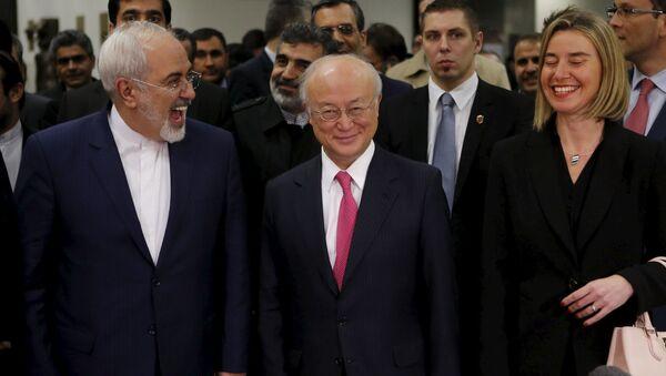 Mohammad Zarif, Yukiya Amano e Federica Mogherini - Sputnik Italia