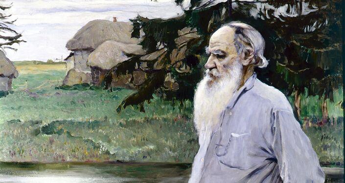 Il ritratto di Lev Tolstoj nella sua tenuta di Jasnaja Poljana del pittore russo Michail Nesterov.