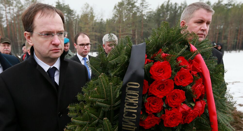 Ministro della Cultura della Russia Vladimir Medinsky a Sobibor