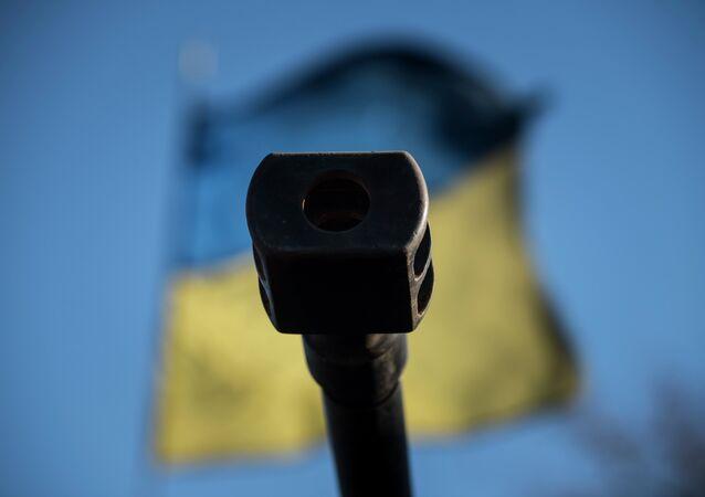 Arma sullo sfondo della bandiera ucraina