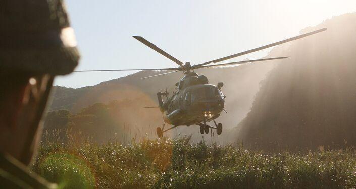 Esercitazioni con elicotteri in Kamchatka