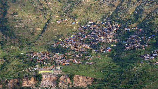 View of an earthquake affected village in the Gorkha District, some 250kms north-west of Kathmandu, Nepal - Sputnik Italia