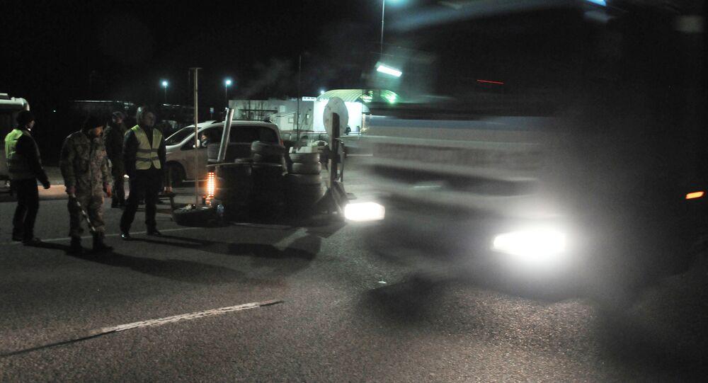 Blocco camion russi nella regione di Lvovo