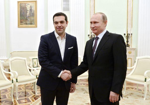 Alexis Tsipras e Vladimir Putin al Cremlino