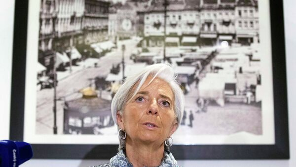 International Monetary Fund (IMF) Managing Director Christine Lagarde speaks about the situation in Ukraine at a news conference in Brussels February 12, 2015 - Sputnik Italia