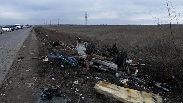 Luogo dell'esplosione del veicolo dell'esercito ucraino - Sputnik Italia