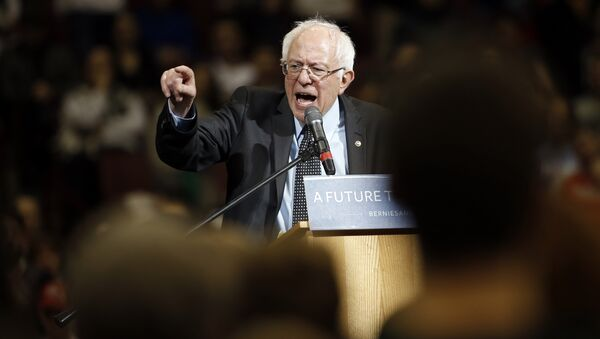 Democratic presidential candidate, Sen. Bernie Sanders, I-Vt., speaks during a campaign stop on Sunday, March 13, 2016, at Ohio State University in Columbus, Ohio - Sputnik Italia