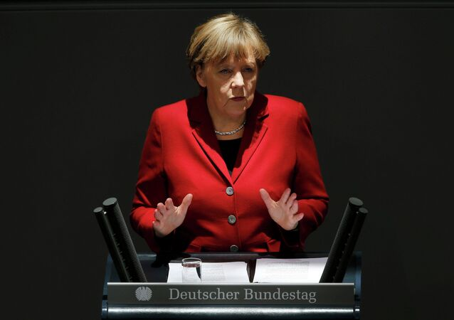 German Chancellor Angela Merkel gives a speech during a debate at the Bundestag