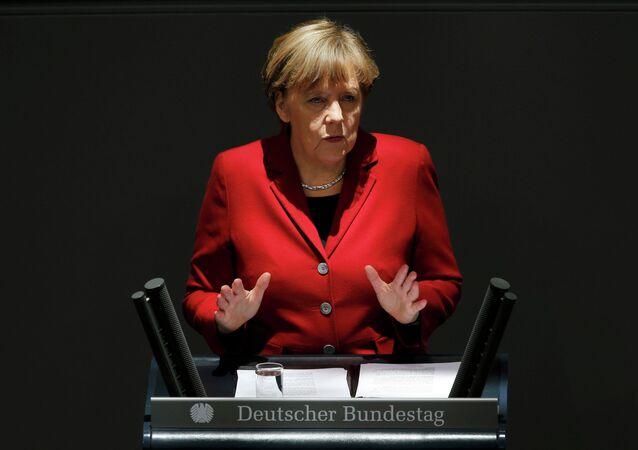 German Chancellor Angela Merkel gives a speech during a debate at the Bundestag