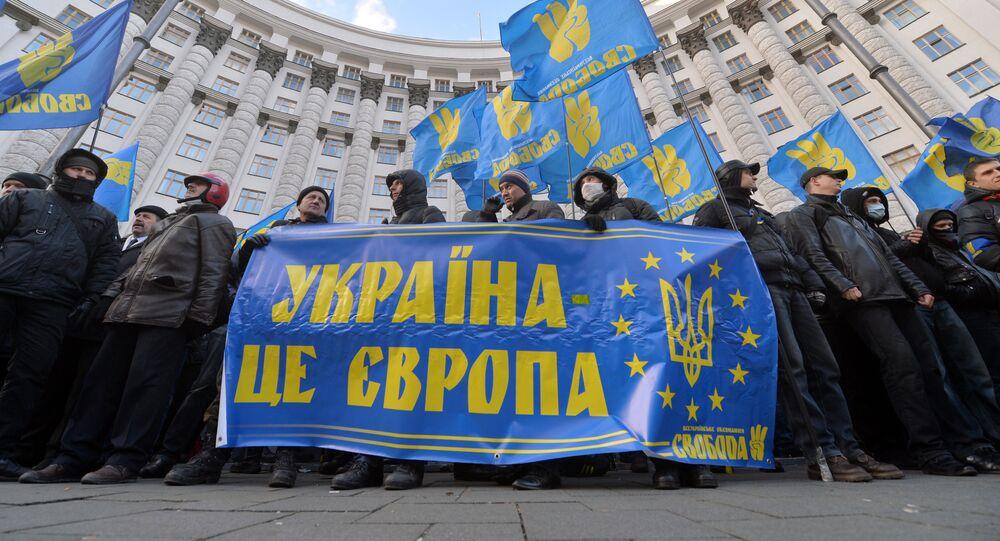 Manifestazione di nazionalisti a Kiev a sostegno della UE (foto d'archivio)