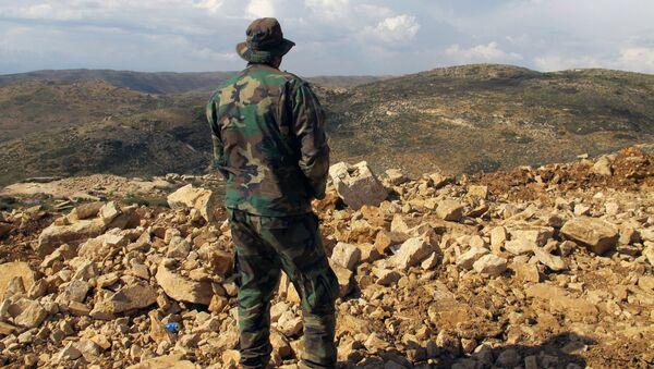 Un militare di Hezbollah al confine libanese - Sputnik Italia