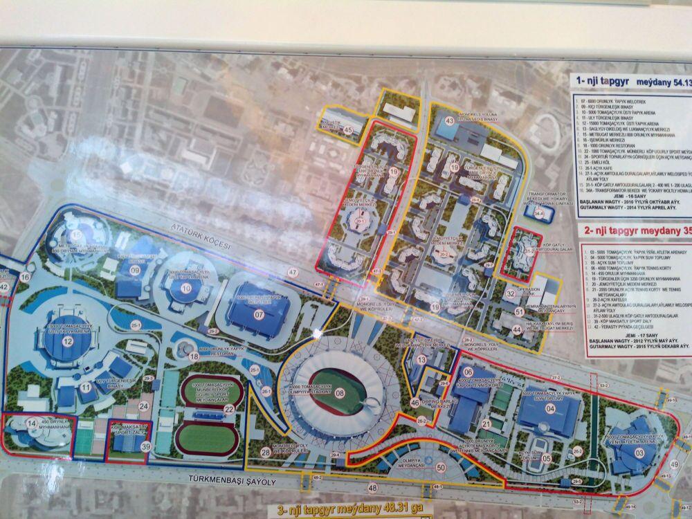 Schema del parco Olimpico di Ashgabat