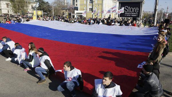 Simferopoli, manifestazione per celebrare il 2° anniversario della riunificazione della Crimea con la Russia - Sputnik Italia
