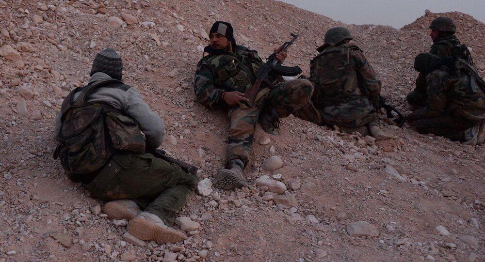 Forze filo-governative siriane nel fronte di Palmira