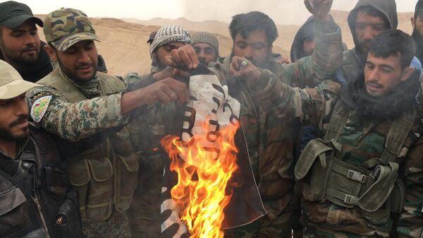 Soldati siriani bruciano bandiera del Daesh a Palmira - Sputnik Italia