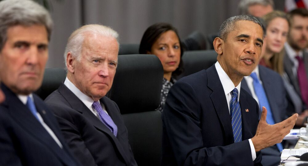 John Kerry, Joseph Biden e Barack Obama durante forum su sicurezza nucleare di Washington