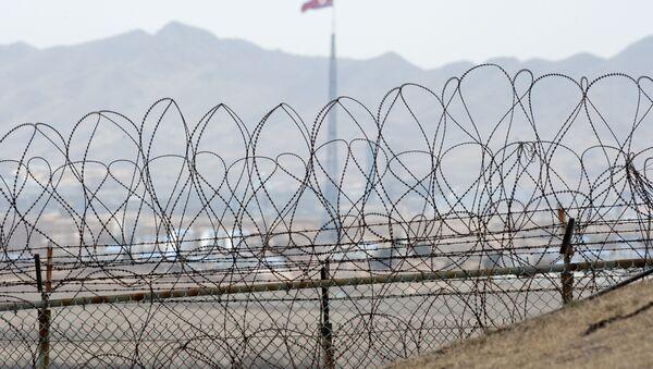 La bandiera nordcoreana al confine tra le due Coree - Sputnik Italia