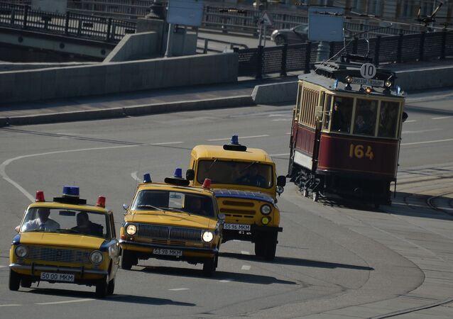 La sfilata 116 anni di Tram a Mosca