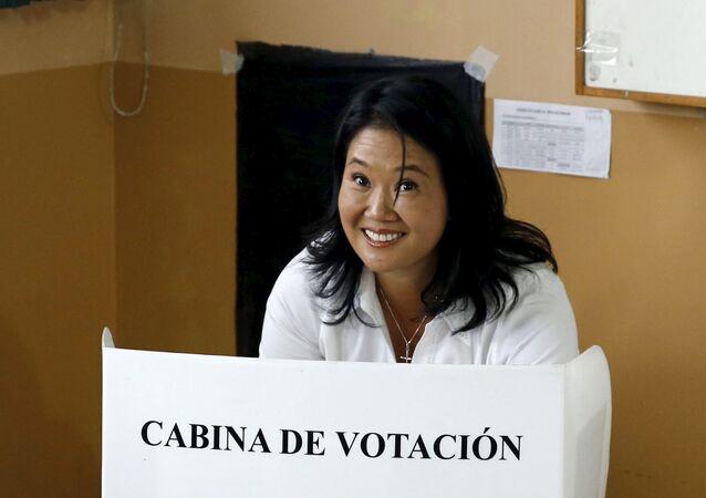 Il candidato presidenziale peruviano Keiko Fujimori