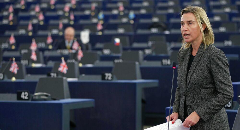 Federica Mogherini all'Europarlamento di Strasburgo (foto d'archivio)