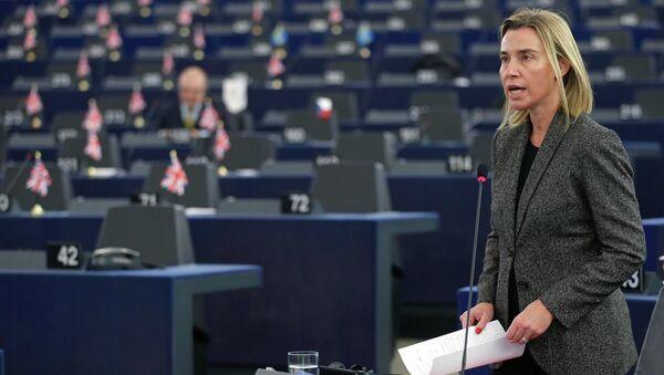 Federica Mogherini al parlamento di Strasburgo - Sputnik Italia