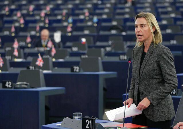 Federica Mogherini al parlamento di Strasburgo