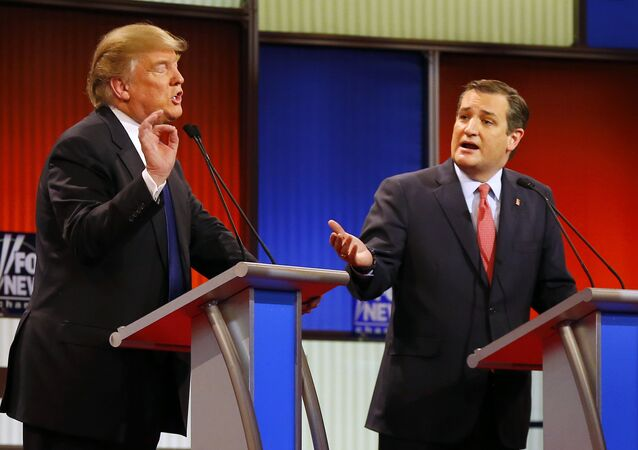 Republican presidential candidates, businessman Donald Trump and Republican presidential candidate, Sen. Ted Cruz, R-Texas, argue a point during a Republican presidential primary debate at Fox Theatre, Thursday, March 3, 2016, in Detroit.