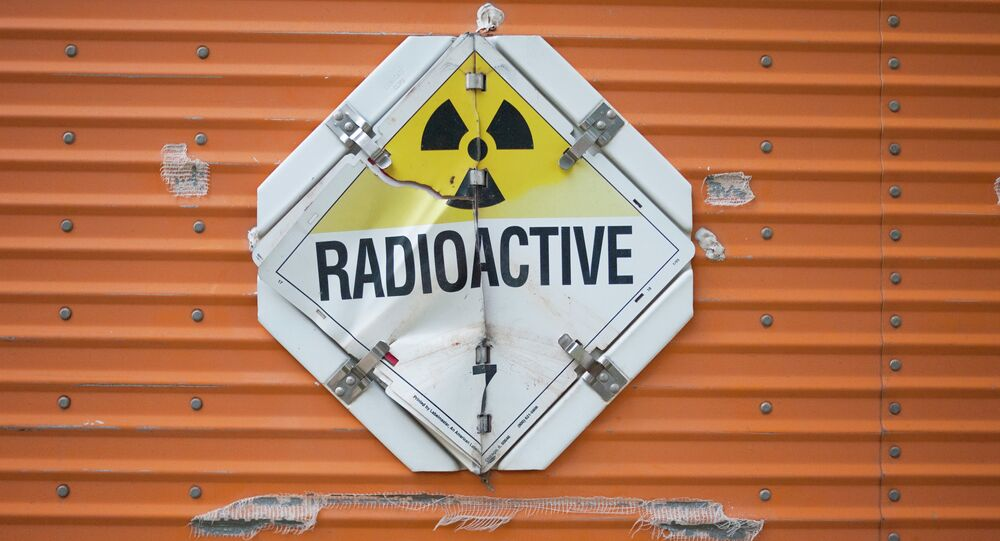 Radioactive sign on a truck