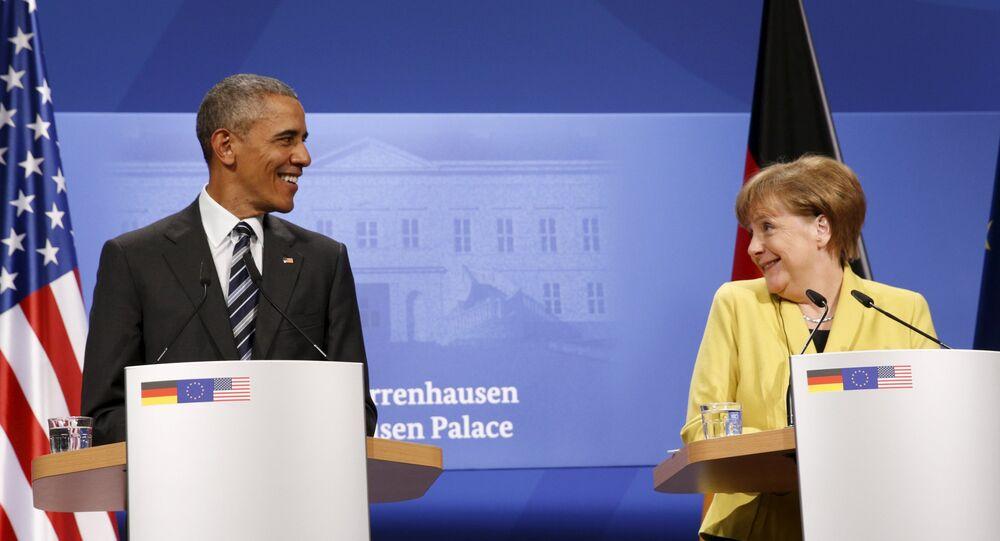 Barack Obama ed Angela Merkel alla conferenza stampa dopo colloqui di Hannover