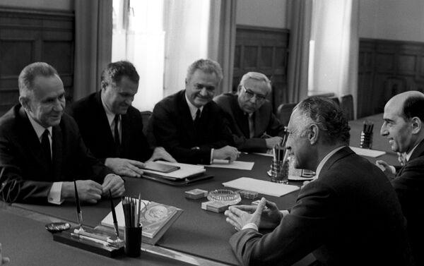 19 giugno 1970, l'allora primo ministro dell'URSS Kosygin incontra a Mosca Gianni Agnelli - Sputnik Italia