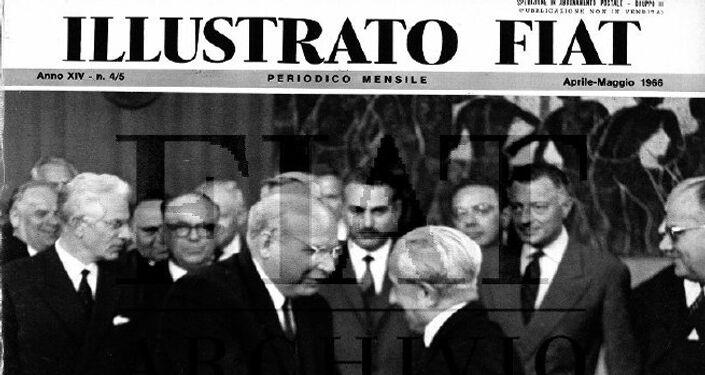 La copertina dell' Illustrato Fiat del maggio 1966, che saluta la firma dell'accordo con l'URSS