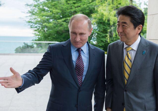 Vladimir Putin e Shinzo Abe a Sochi