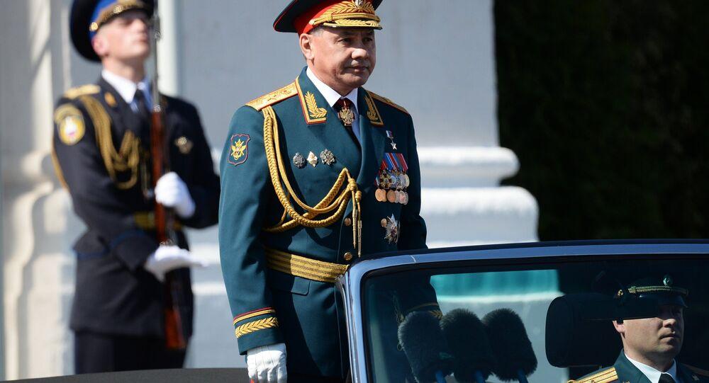 Il ministro della Difesa russo Shoigu all'inizio della Parata