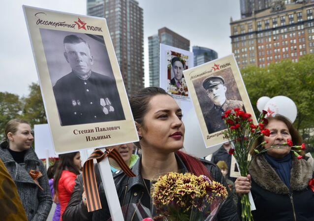 La manifestazione Bessmertny Polk a New York