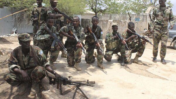 Somali government soldiers pose after they captured Belidogle airport, Somalia. (File) - Sputnik Italia