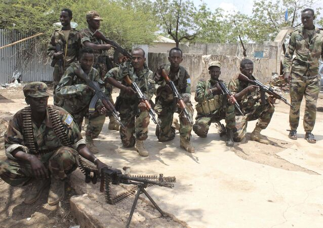Somali government soldiers pose after they captured Belidogle airport, Somalia. (File)