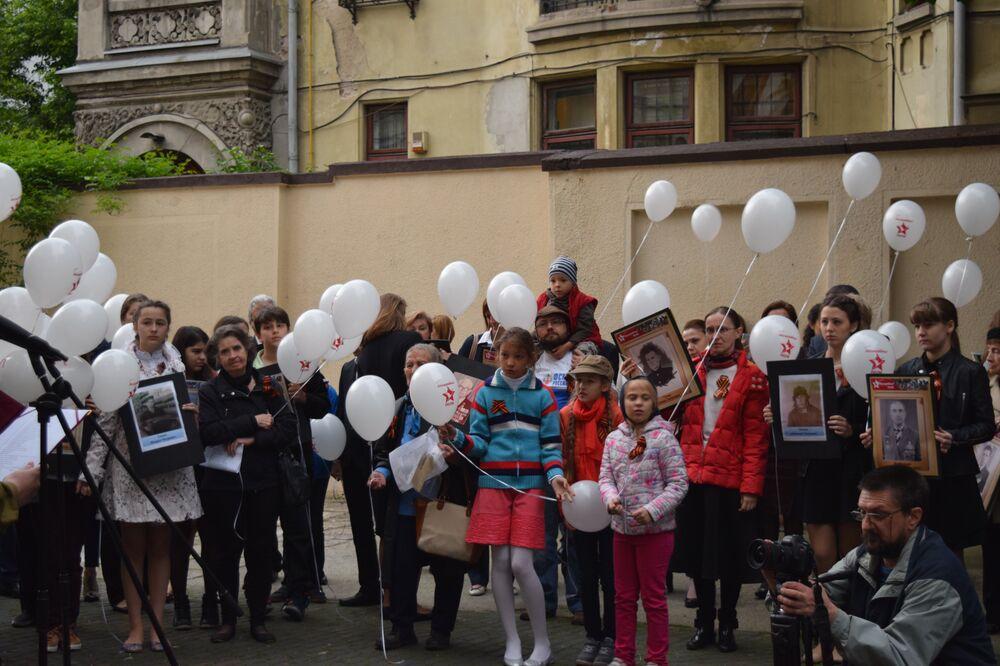 Manifestazione Reggimento Immortale a Bucarest, Romania, il 9 maggio 2016.