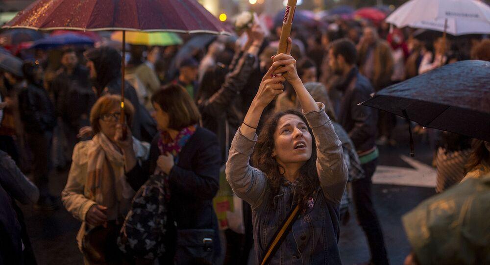 Manifestanti a Skopje, Macedonia