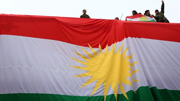Iraqi Kurdish youths wave a national flag as they stand above a giant flag of Kurdistan during celebrations of Flag Day on December 17, 2015 - Sputnik Italia