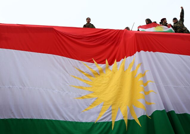 Iraqi Kurdish youths wave a national flag as they stand above a giant flag of Kurdistan during celebrations of Flag Day on December 17, 2015