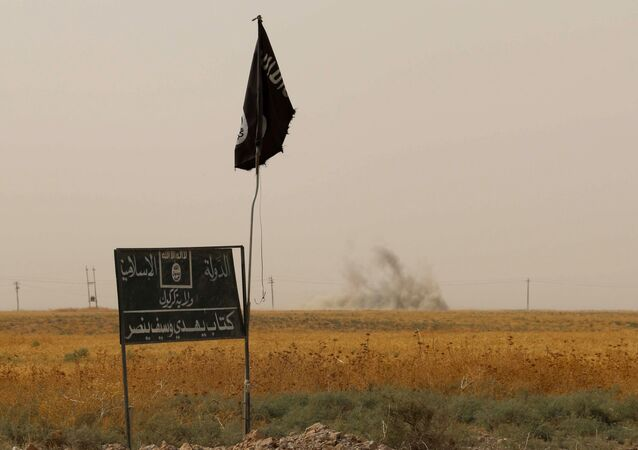 Bandiera e cartellone del Daesh
