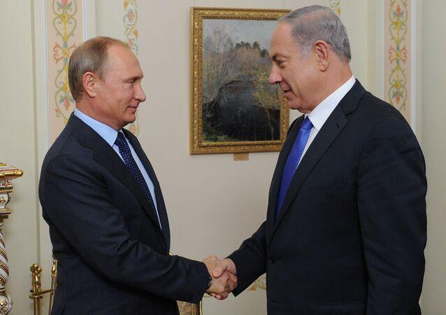 L`incontro del Presidente russo Vladimir Putin e Primo Ministro izraeliano Benjamin Netanyahu
